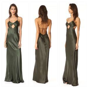 Michelle Mason green cutout silk gown dress 0 BNWT